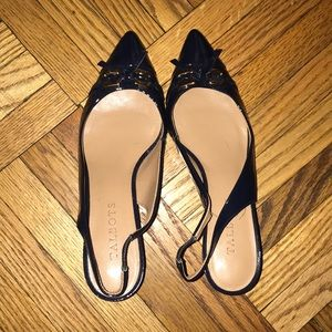 Navy patent leather Talbots sling-back heels